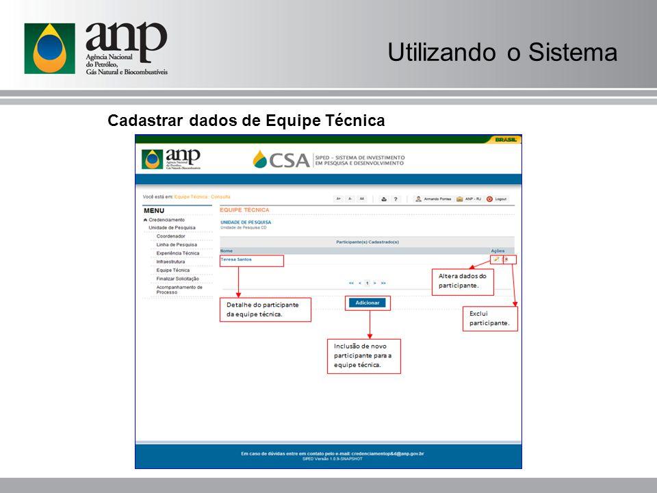 Utilizando o Sistema Cadastrar dados de Equipe Técnica