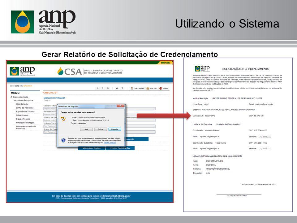 Utilizando o Sistema Gerar Relatório de Solicitação de Credenciamento