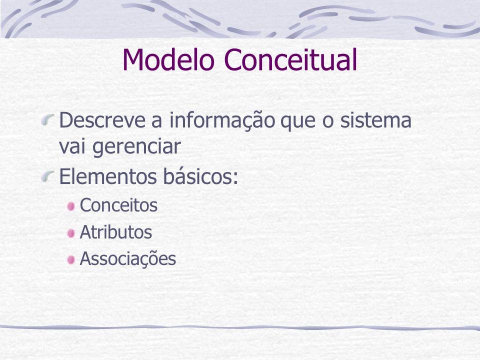 Modelo Conceitual Descreve a informação que o sistema vai gerenciar Elementos básicos: Conceitos Atributos Associações