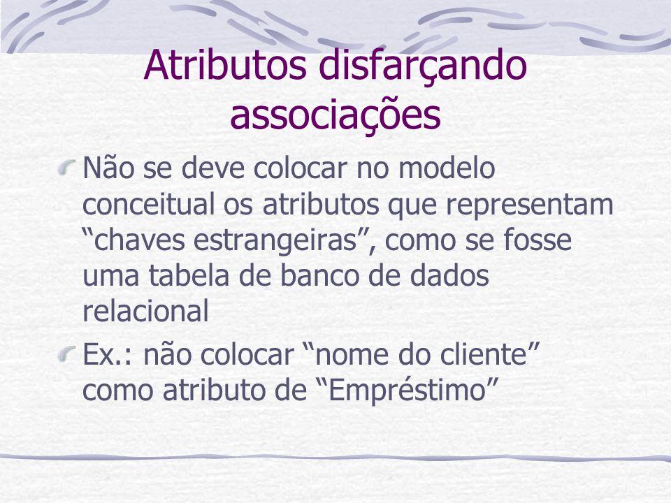 Atributos disfarçando associações Não se deve colocar no modelo conceitual os atributos que representam chaves estrangeiras, como se fosse uma tabela