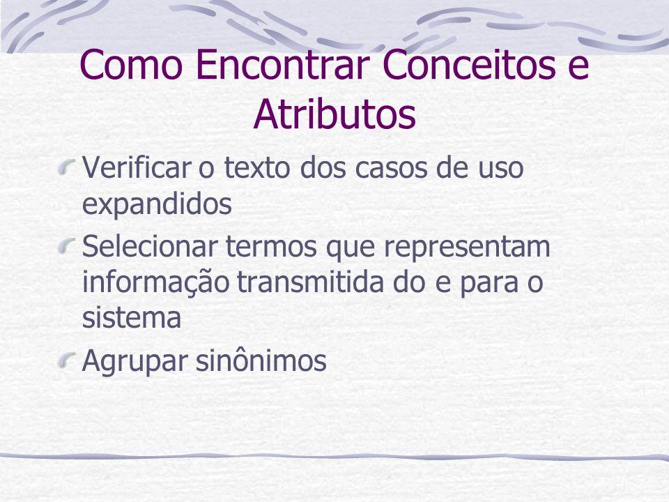 Como Encontrar Conceitos e Atributos Verificar o texto dos casos de uso expandidos Selecionar termos que representam informação transmitida do e para
