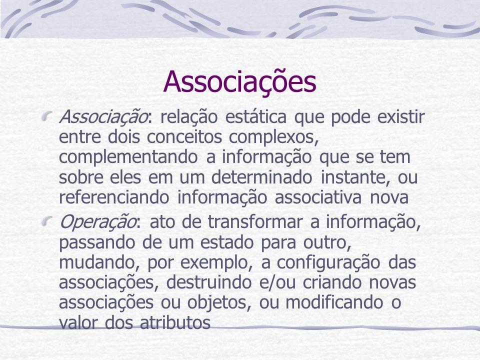 Associações Associação: relação estática que pode existir entre dois conceitos complexos, complementando a informação que se tem sobre eles em um dete