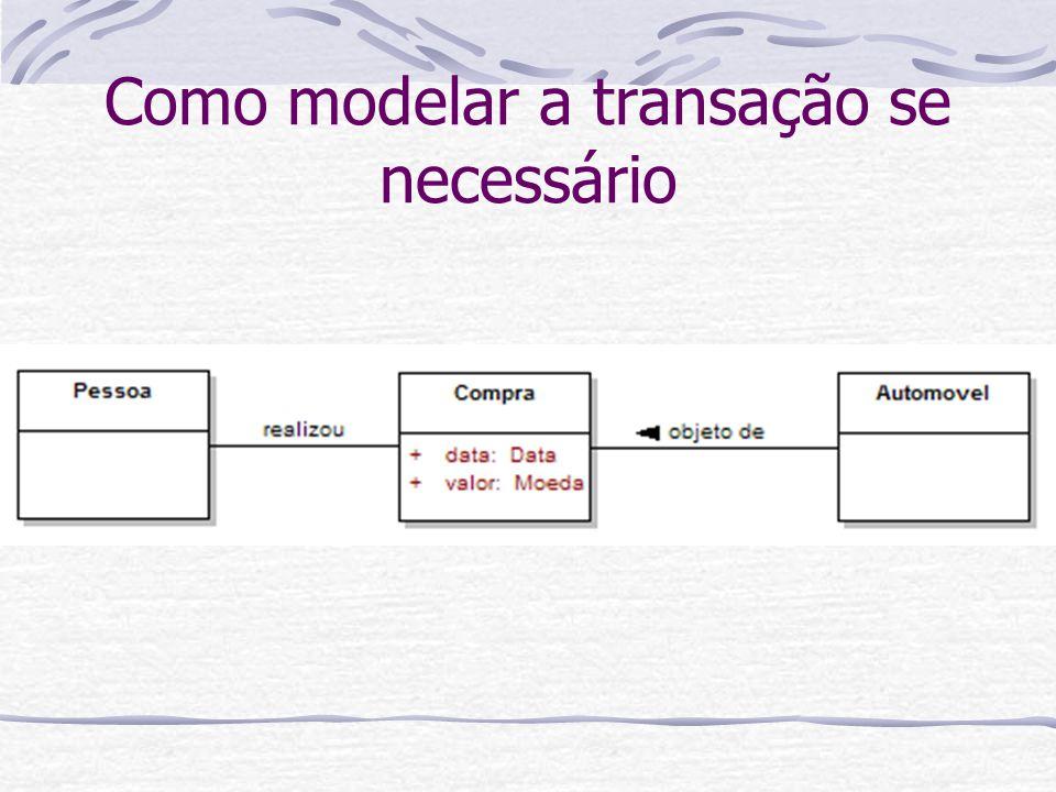 Como modelar a transação se necessário