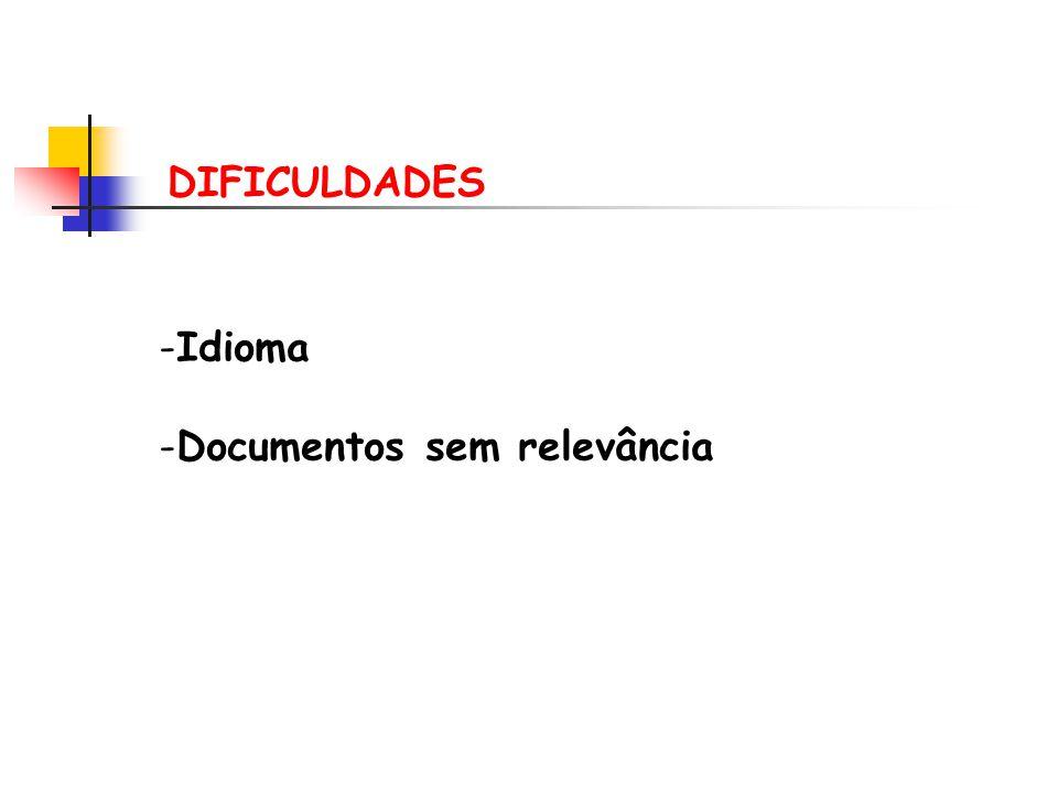 DIFICULDADES -Idioma -Documentos sem relevância