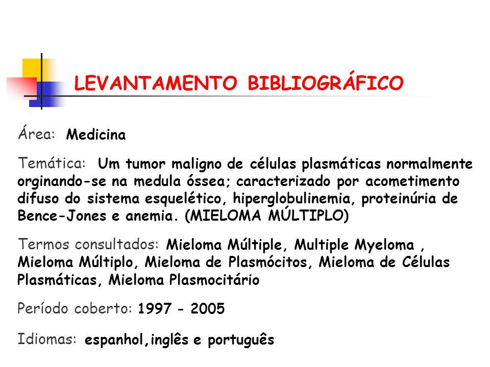 Mieloma Múltiplo or Multiple Myeloma (07/06/2005) SCIELO 09 Mieloma and Múltipo (07/06/2005)MEDLINE – BVS 12 Multiple MyelomaNATURE 2339 Multiple Myeloma SCIENCE DIRECT 326 Mieloma Múltiplo IBICT-BDTD 00 Estratégias de busca Base de Dados Resultados