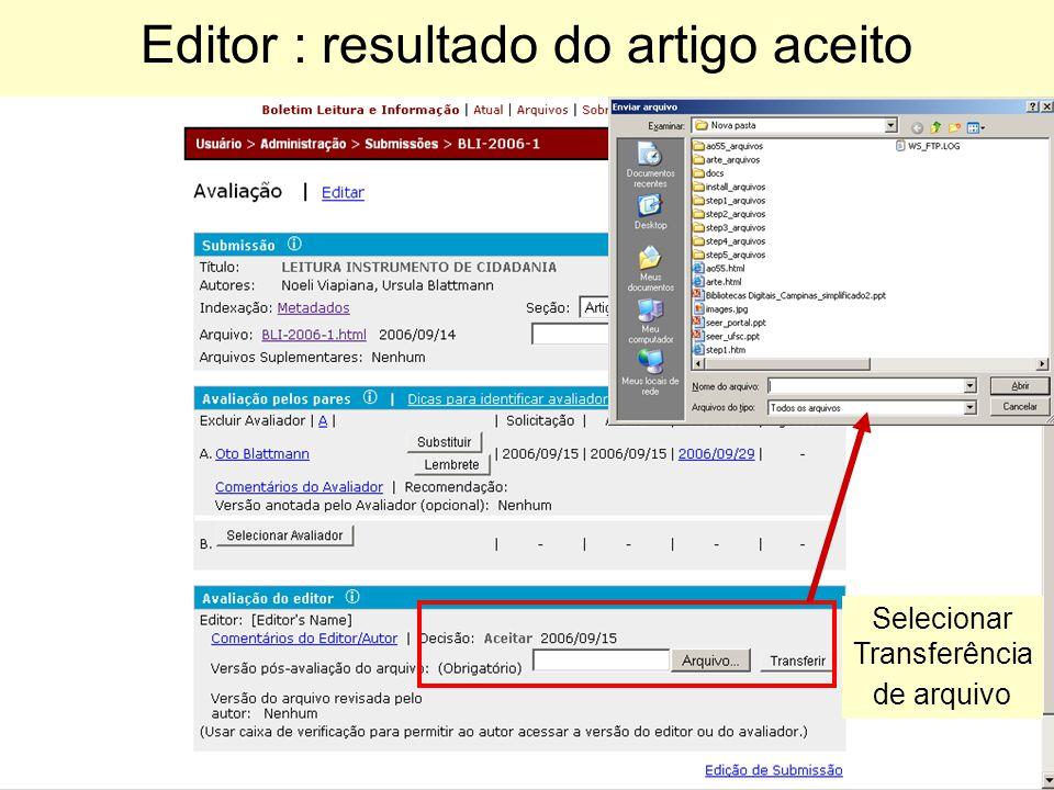 Editor : resultado do artigo aceito Selecionar Transferência de arquivo