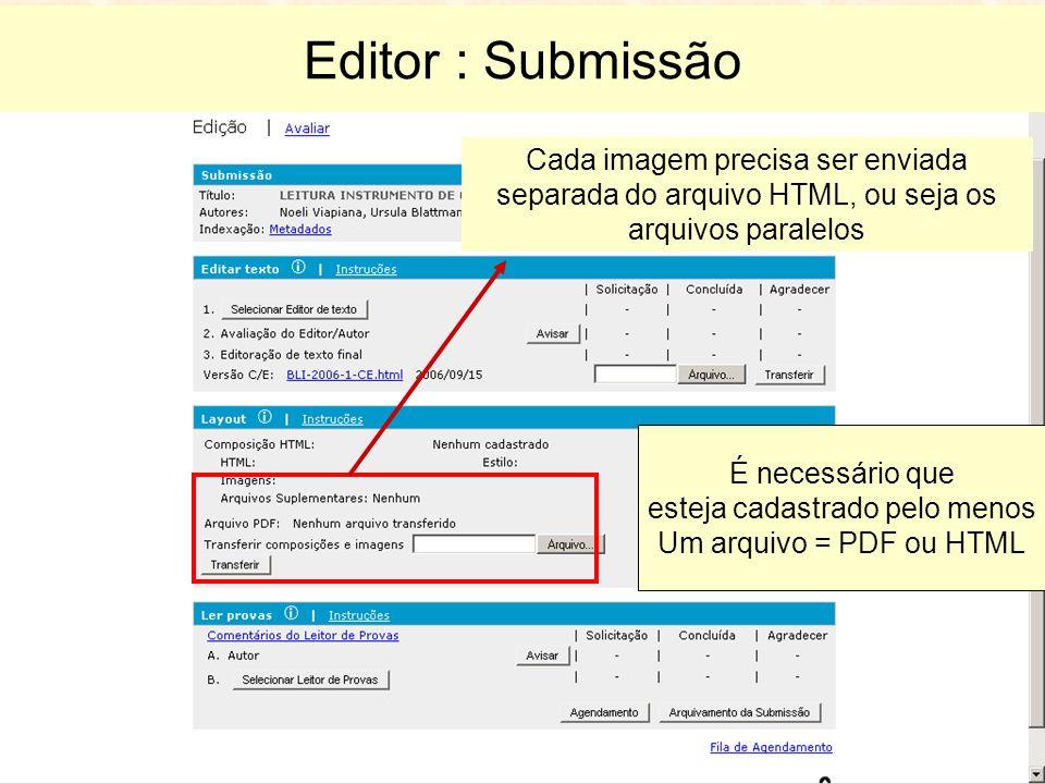 Editor : Submissão Cada imagem precisa ser enviada separada do arquivo HTML, ou seja os arquivos paralelos É necessário que esteja cadastrado pelo menos Um arquivo = PDF ou HTML