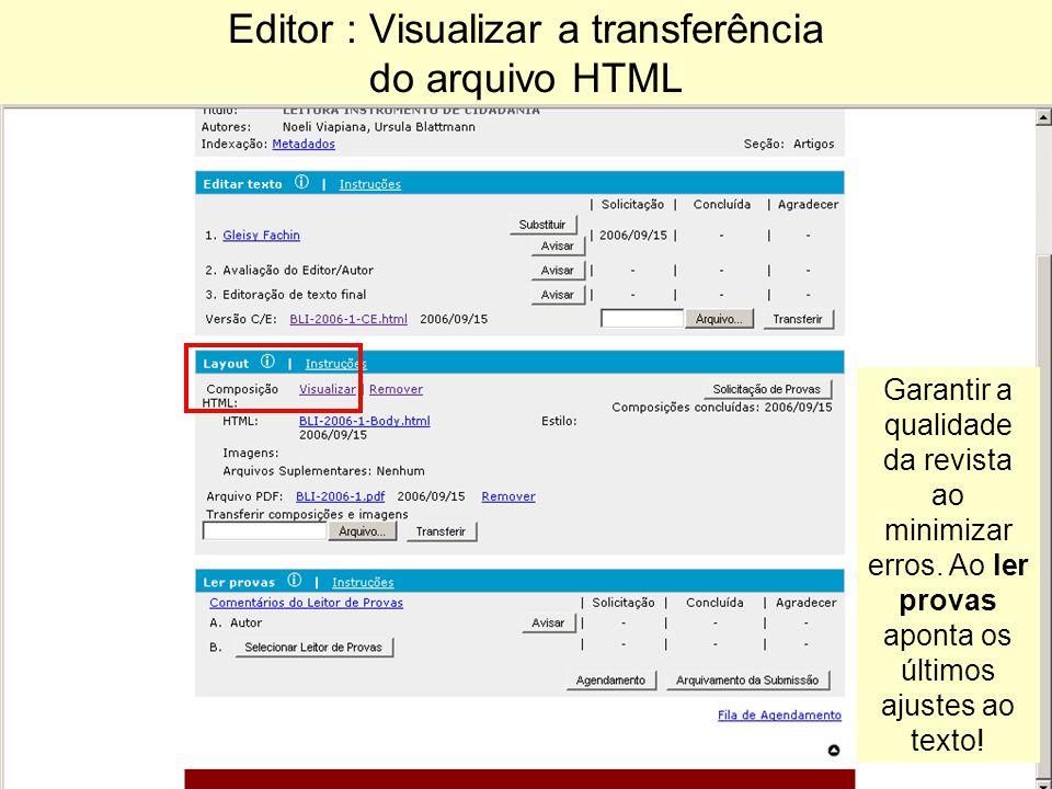 Editor : Visualizar a transferência do arquivo HTML Garantir a qualidade da revista ao minimizar erros.