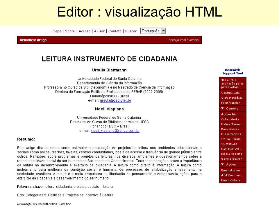 Editor : visualização HTML