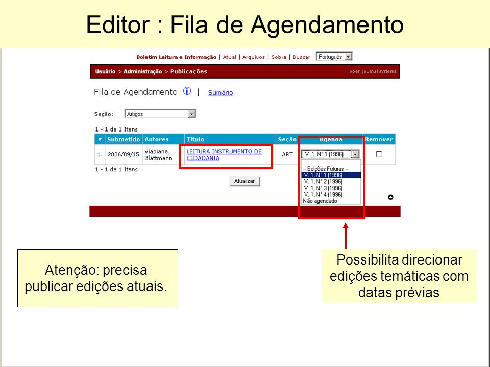 Editor : Fila de Agendamento Possibilita direcionar edições temáticas com datas prévias Atenção: precisa publicar edições atuais.
