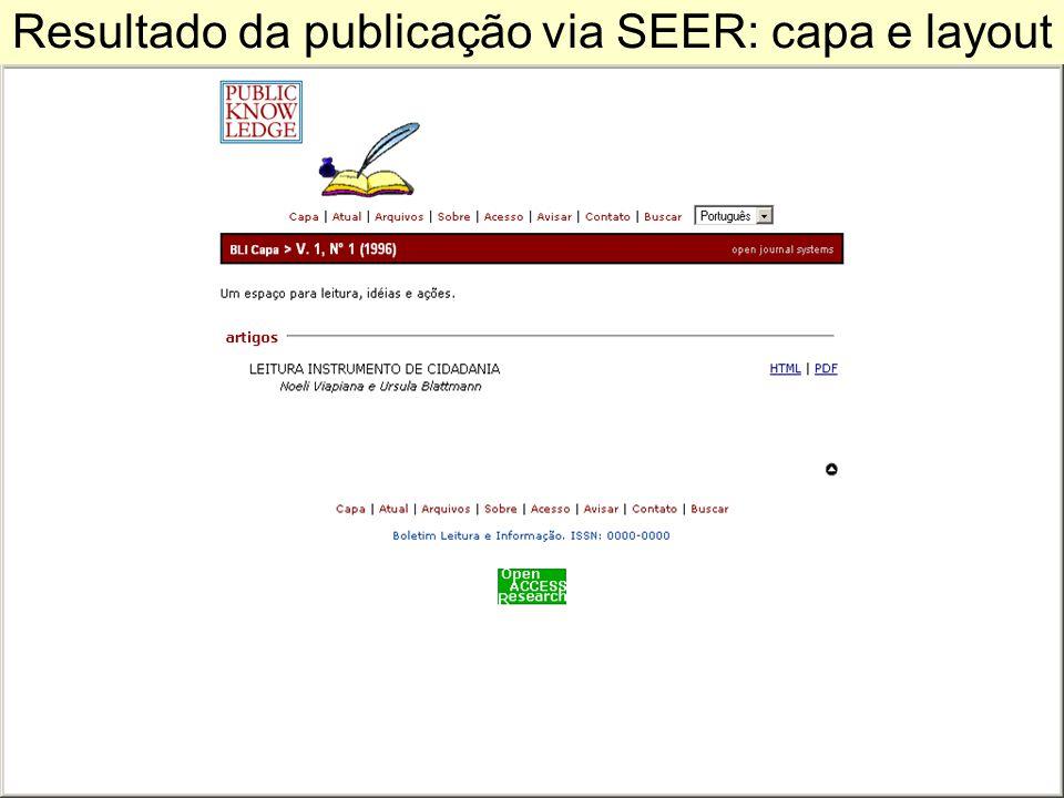 Resultado da publicação via SEER: capa e layout