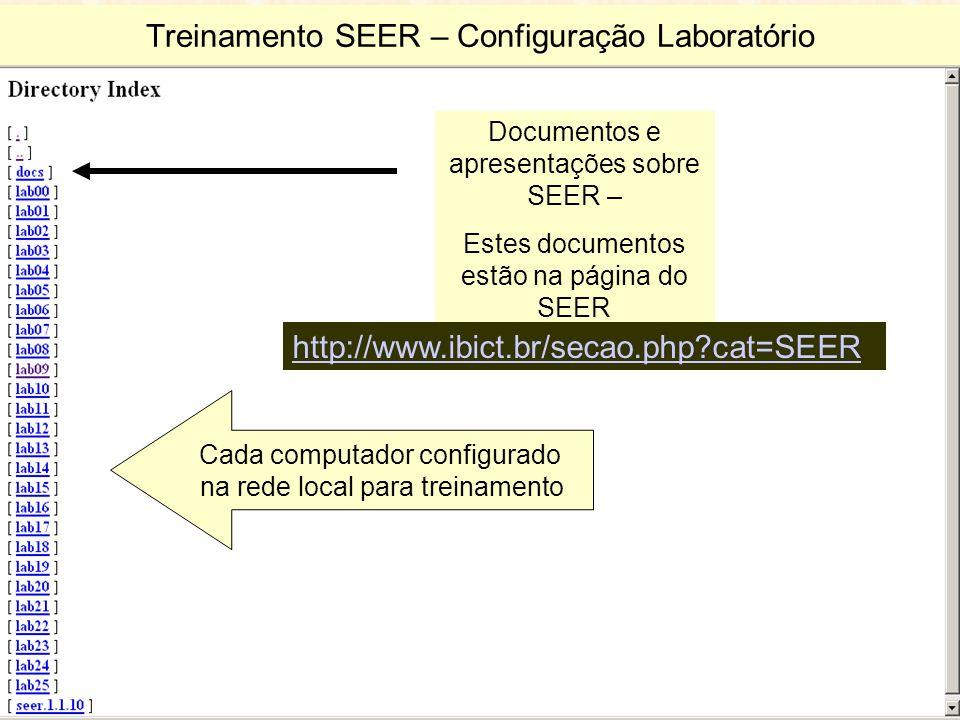 Treinamento SEER – Configuração Laboratório Cada computador configurado na rede local para treinamento Documentos e apresentações sobre SEER – Estes documentos estão na página do SEER http://www.ibict.br/secao.php?cat=SEER