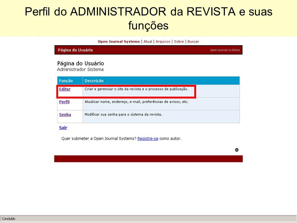 Perfil do ADMINISTRADOR da REVISTA e suas funções