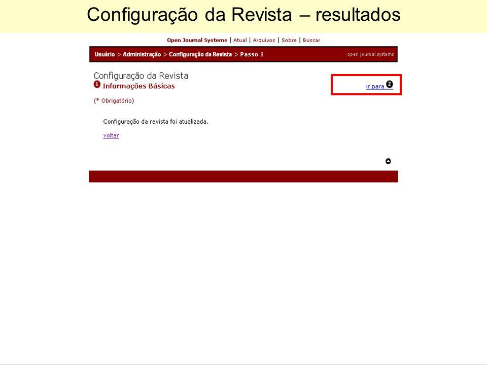 Configuração da Revista – resultados