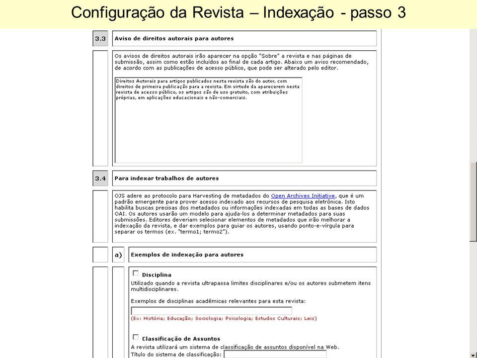 Configuração da Revista – Indexação - passo 3