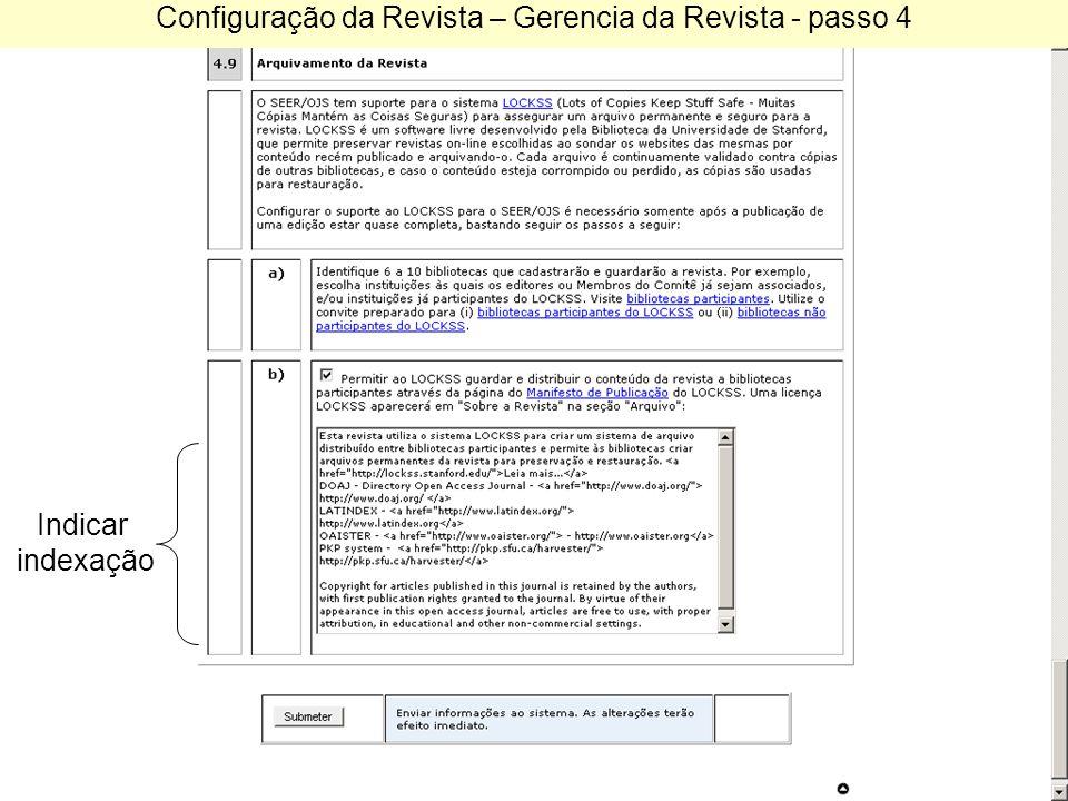 Configuração da Revista – Gerencia da Revista - passo 4 Indicar indexação