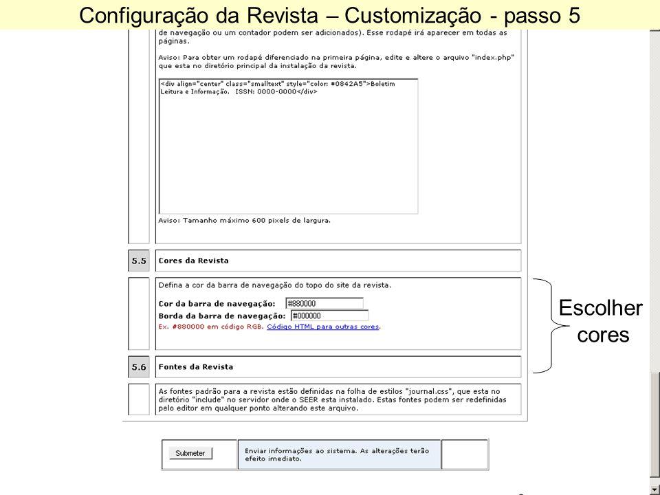 Configuração da Revista – Customização - passo 5 Escolher cores