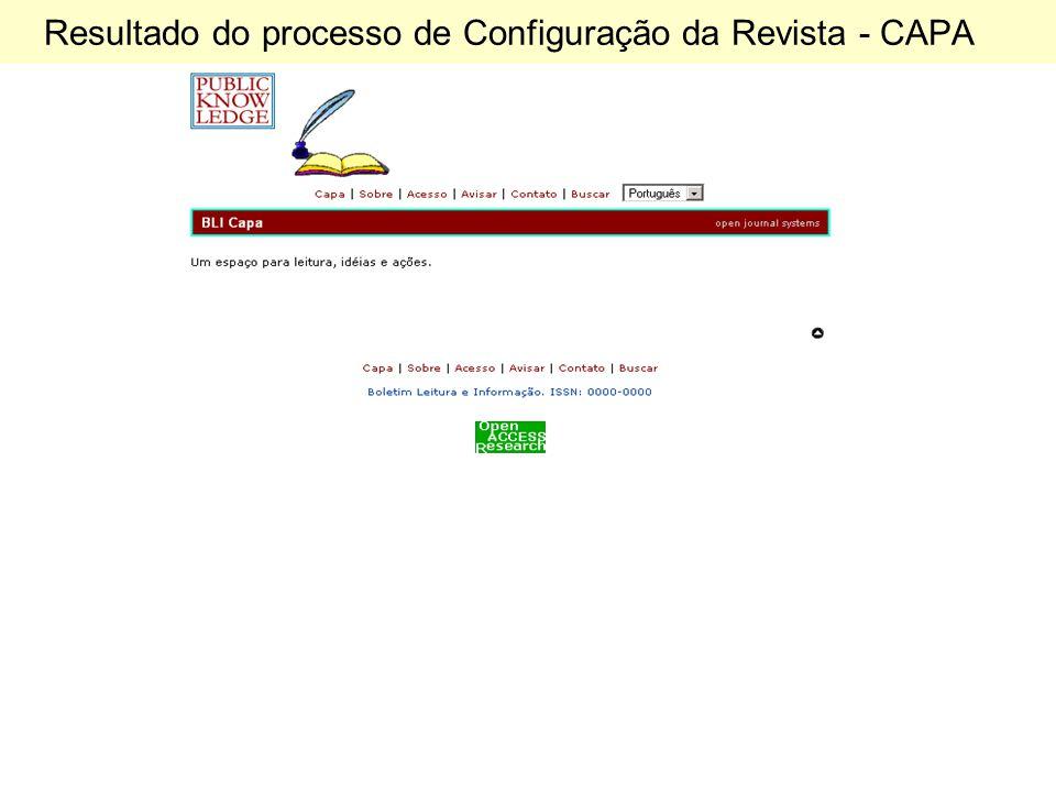 Resultado do processo de Configuração da Revista - CAPA