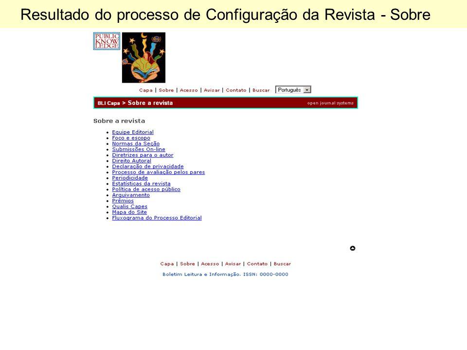 Resultado do processo de Configuração da Revista - Sobre