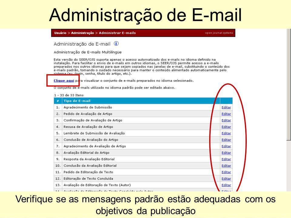 Verifique se as mensagens padrão estão adequadas com os objetivos da publicação Administração de E-mail