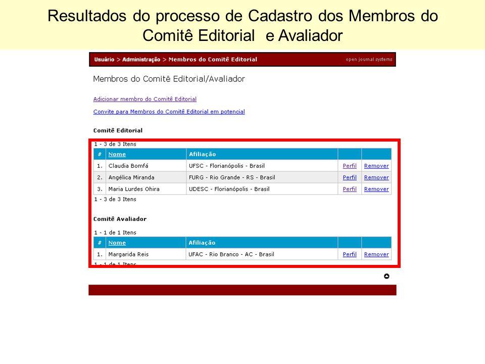 Resultados do processo de Cadastro dos Membros do Comitê Editorial e Avaliador