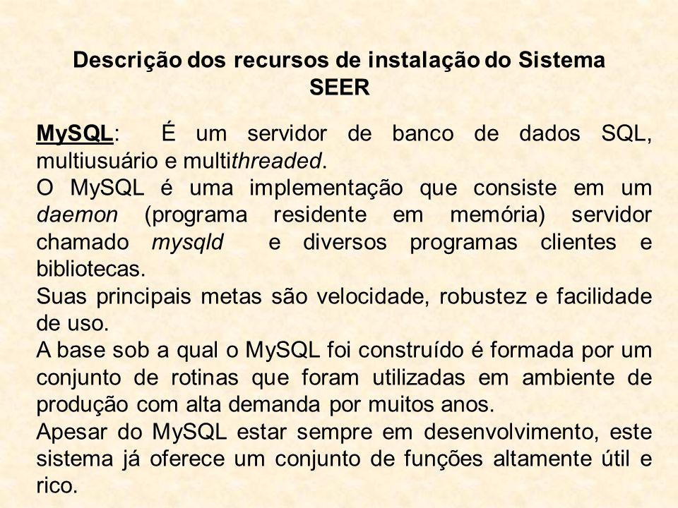Descrição dos recursos de instalação do Sistema SEER PHP: Hypertex Preprocessor – É uma linguagem de programação Server-side e open-source para criação de páginas web de e-commerce dinâmicas e outros aplicativos para a web.