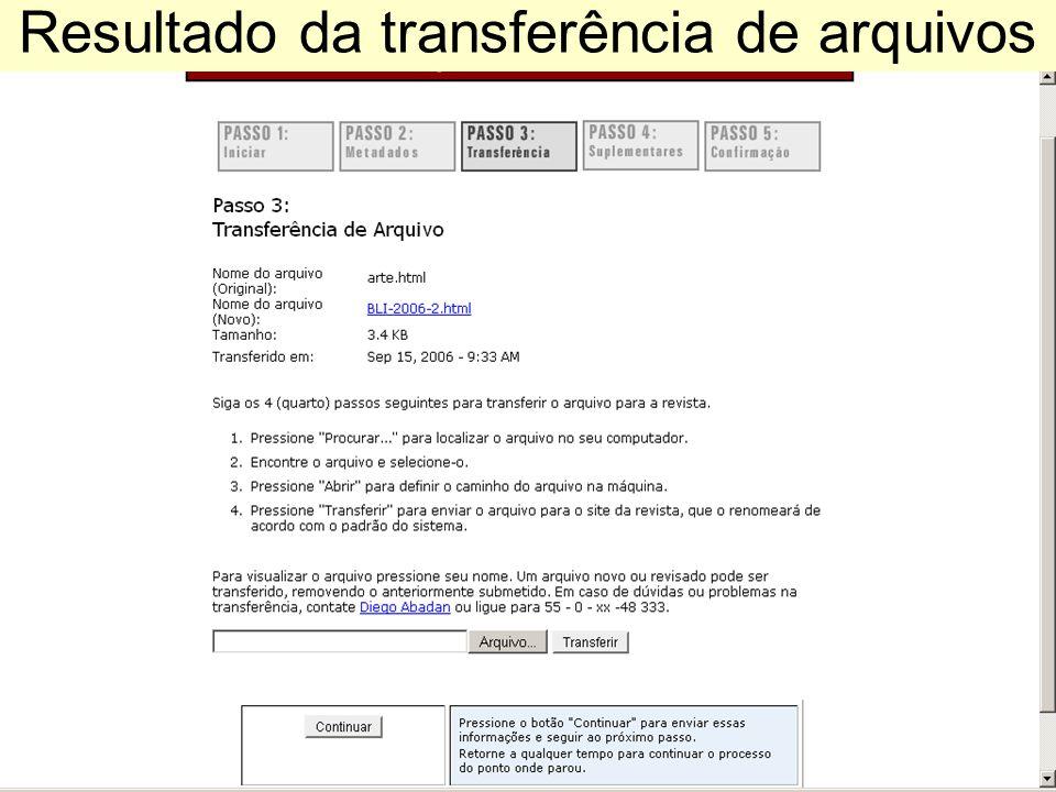 Resultado da transferência de arquivos