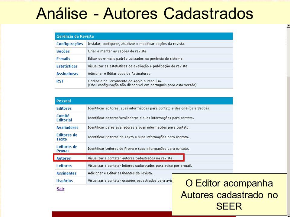 Análise - Autores Cadastrados O Editor acompanha Autores cadastrado no SEER