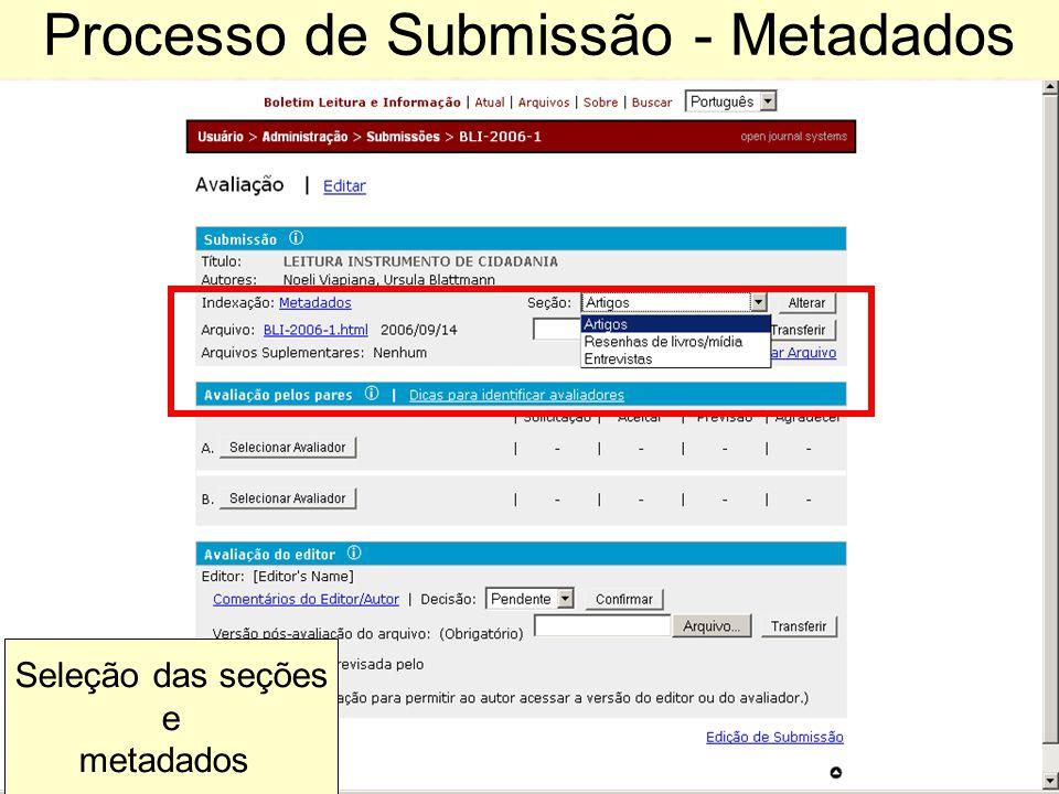 Processo de Submissão - Metadados Seleção das seções e metadados