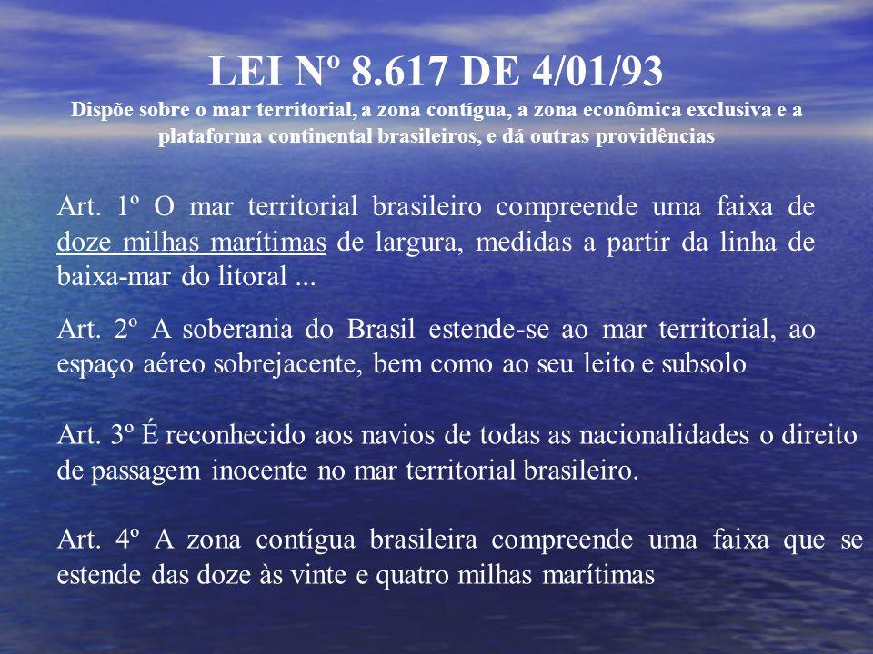 LEI Nº 8.617 DE 4/01/93 Dispõe sobre o mar territorial, a zona contígua, a zona econômica exclusiva e a plataforma continental brasileiros, e dá outras providências Art.