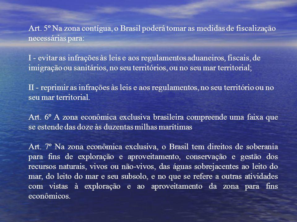 Art. 5º Na zona contígua, o Brasil poderá tomar as medidas de fiscalização necessárias para: I - evitar as infrações às leis e aos regulamentos aduane