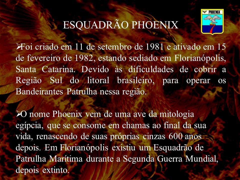 ESQUADRÃO PHOENIX Foi criado em 11 de setembro de 1981 e ativado em 15 de fevereiro de 1982, estando sediado em Florianópolis, Santa Catarina.