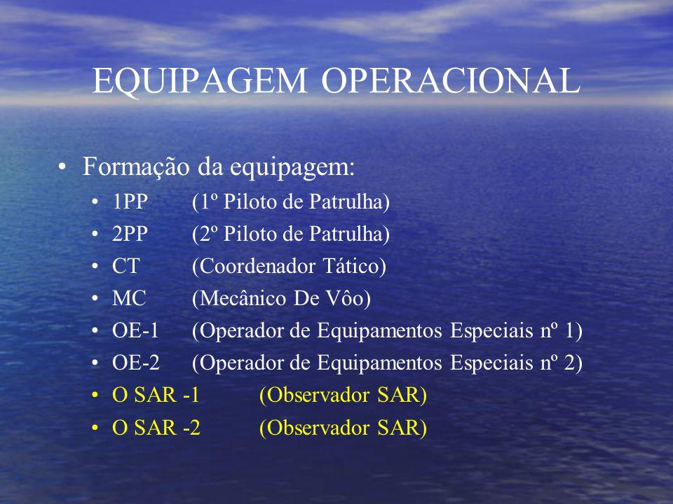 EQUIPAGEM OPERACIONAL Formação da equipagem: 1PP (1º Piloto de Patrulha) 2PP (2º Piloto de Patrulha) CT(Coordenador Tático) MC(Mecânico De Vôo) OE-1(Operador de Equipamentos Especiais nº 1) OE-2(Operador de Equipamentos Especiais nº 2) O SAR -1(Observador SAR) O SAR -2(Observador SAR)