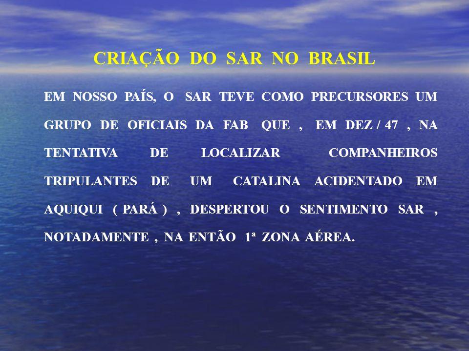 EM NOSSO PAÍS, O SAR TEVE COMO PRECURSORES UM GRUPO DE OFICIAIS DA FAB QUE, EM DEZ / 47, NA TENTATIVA DE LOCALIZAR COMPANHEIROS TRIPULANTES DE UM CATALINA ACIDENTADO EM AQUIQUI ( PARÁ ), DESPERTOU O SENTIMENTO SAR, NOTADAMENTE, NA ENTÃO 1ª ZONA AÉREA.