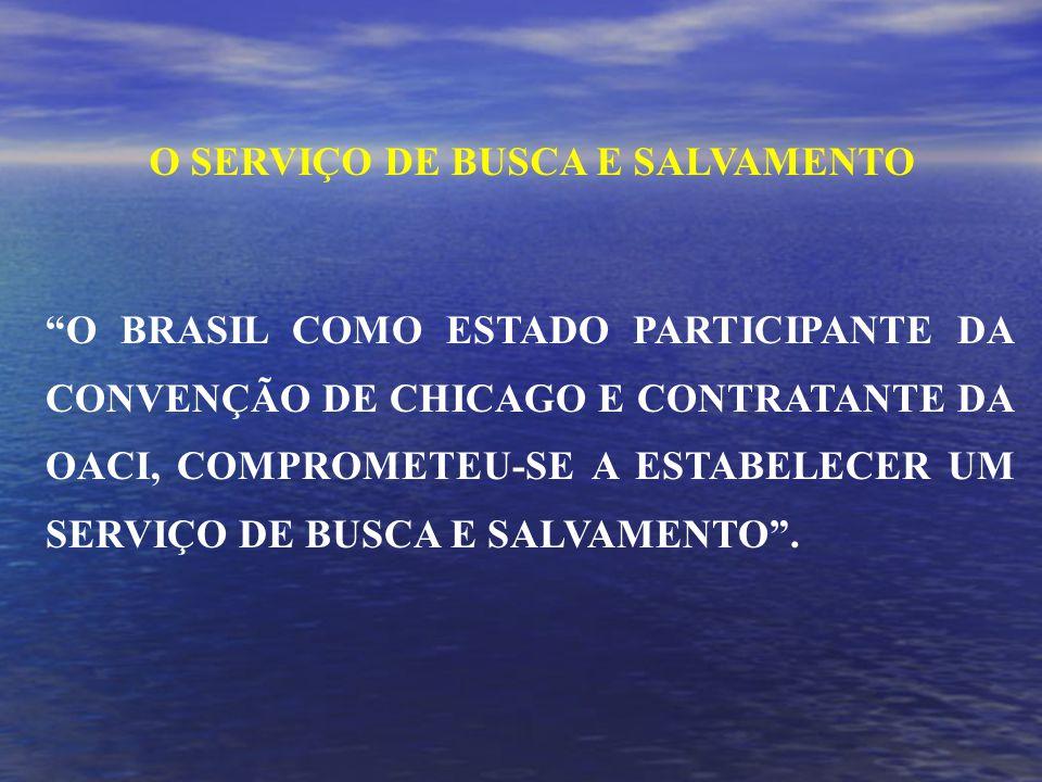 O BRASIL COMO ESTADO PARTICIPANTE DA CONVENÇÃO DE CHICAGO E CONTRATANTE DA OACI, COMPROMETEU-SE A ESTABELECER UM SERVIÇO DE BUSCA E SALVAMENTO.