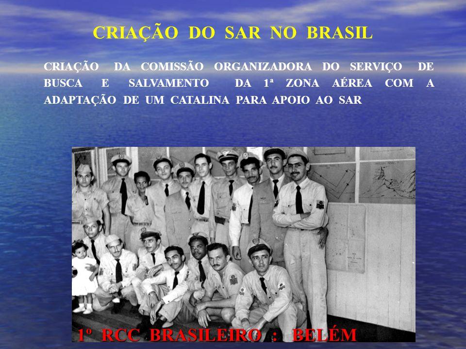 CRIAÇÃO DA COMISSÃO ORGANIZADORA DO SERVIÇO DE BUSCA E SALVAMENTO DA 1ª ZONA AÉREA COM A ADAPTAÇÃO DE UM CATALINA PARA APOIO AO SAR 1º RCC BRASILEIRO : BELÉM CRIAÇÃO DO SAR NO BRASIL