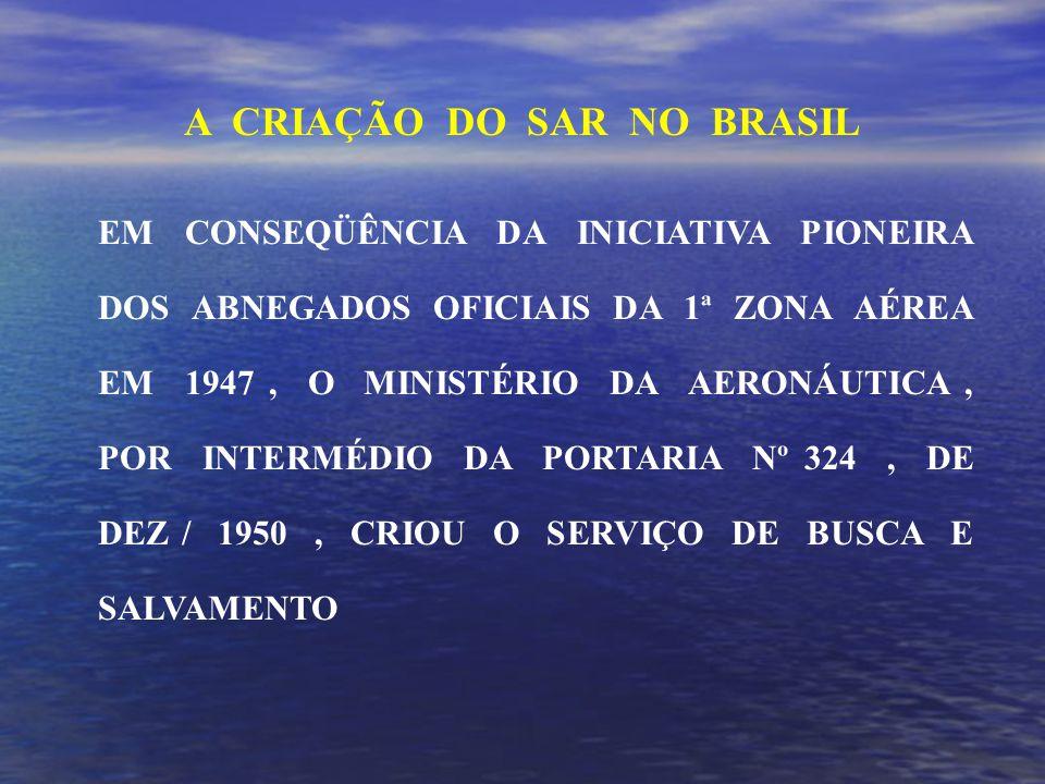 EM CONSEQÜÊNCIA DA INICIATIVA PIONEIRA DOS ABNEGADOS OFICIAIS DA 1ª ZONA AÉREA EM 1947, O MINISTÉRIO DA AERONÁUTICA, POR INTERMÉDIO DA PORTARIA Nº 324, DE DEZ / 1950, CRIOU O SERVIÇO DE BUSCA E SALVAMENTO A CRIAÇÃO DO SAR NO BRASIL