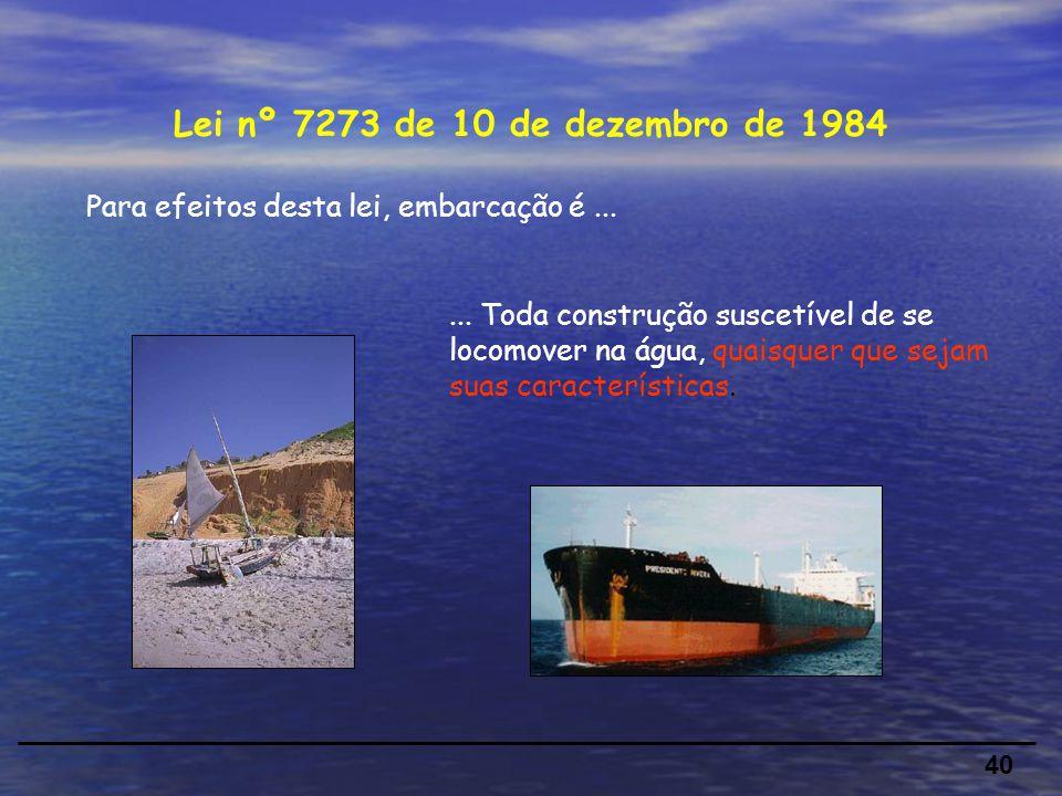 Para efeitos desta lei, embarcação é...40 Lei nº 7273 de 10 de dezembro de 1984...