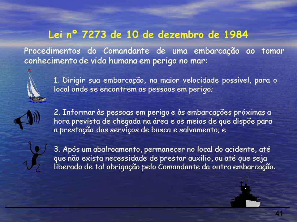 41 Procedimentos do Comandante de uma embarcação ao tomar conhecimento de vida humana em perigo no mar: Lei nº 7273 de 10 de dezembro de 1984 1.