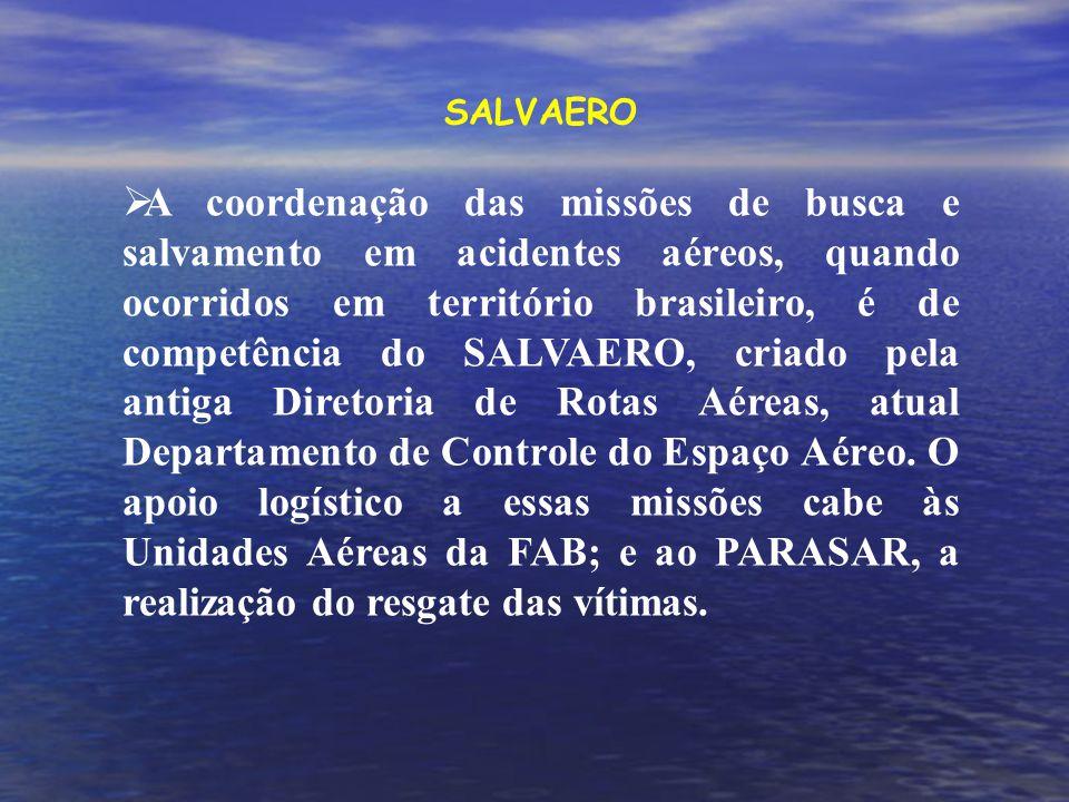 SALVAERO A coordenação das missões de busca e salvamento em acidentes aéreos, quando ocorridos em território brasileiro, é de competência do SALVAERO, criado pela antiga Diretoria de Rotas Aéreas, atual Departamento de Controle do Espaço Aéreo.