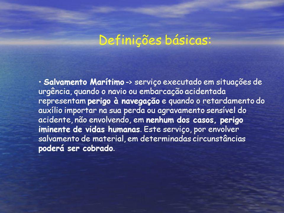 Salvamento Marítimo -> serviço executado em situações de urgência, quando o navio ou embarcação acidentada representam perigo à navegação e quando o retardamento do auxílio importar na sua perda ou agravamento sensível do acidente, não envolvendo, em nenhum dos casos, perigo iminente de vidas humanas.
