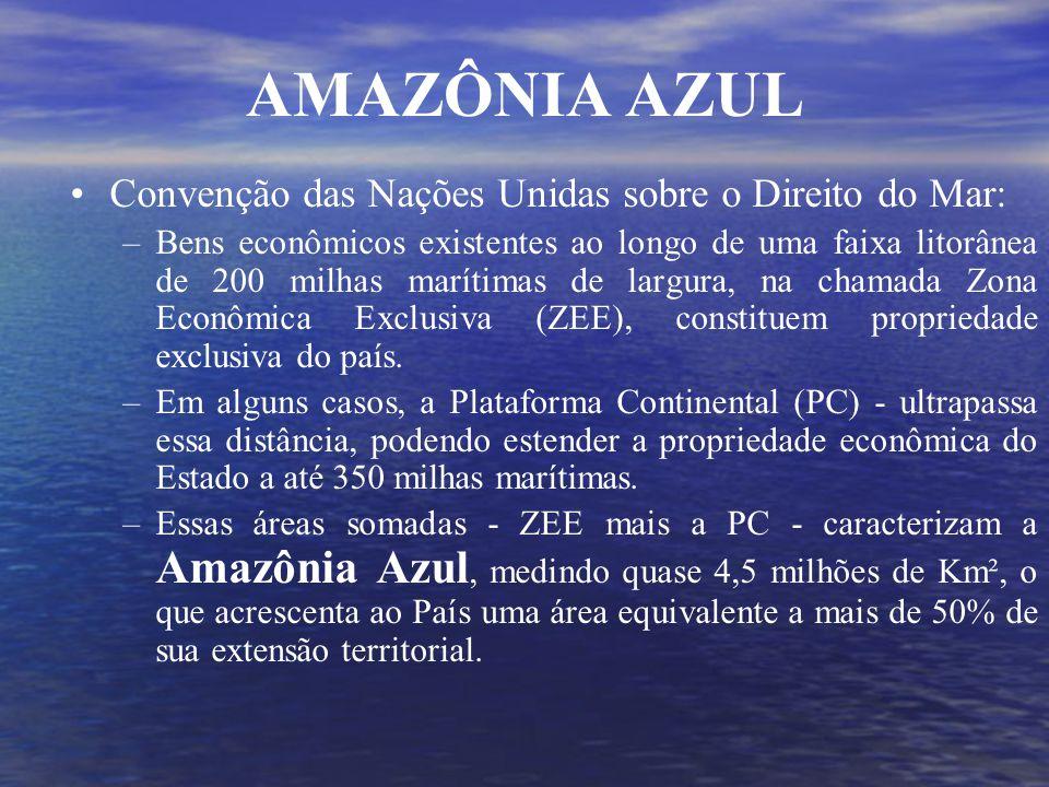 Convenção das Nações Unidas sobre o Direito do Mar: –Bens econômicos existentes ao longo de uma faixa litorânea de 200 milhas marítimas de largura, na chamada Zona Econômica Exclusiva (ZEE), constituem propriedade exclusiva do país.