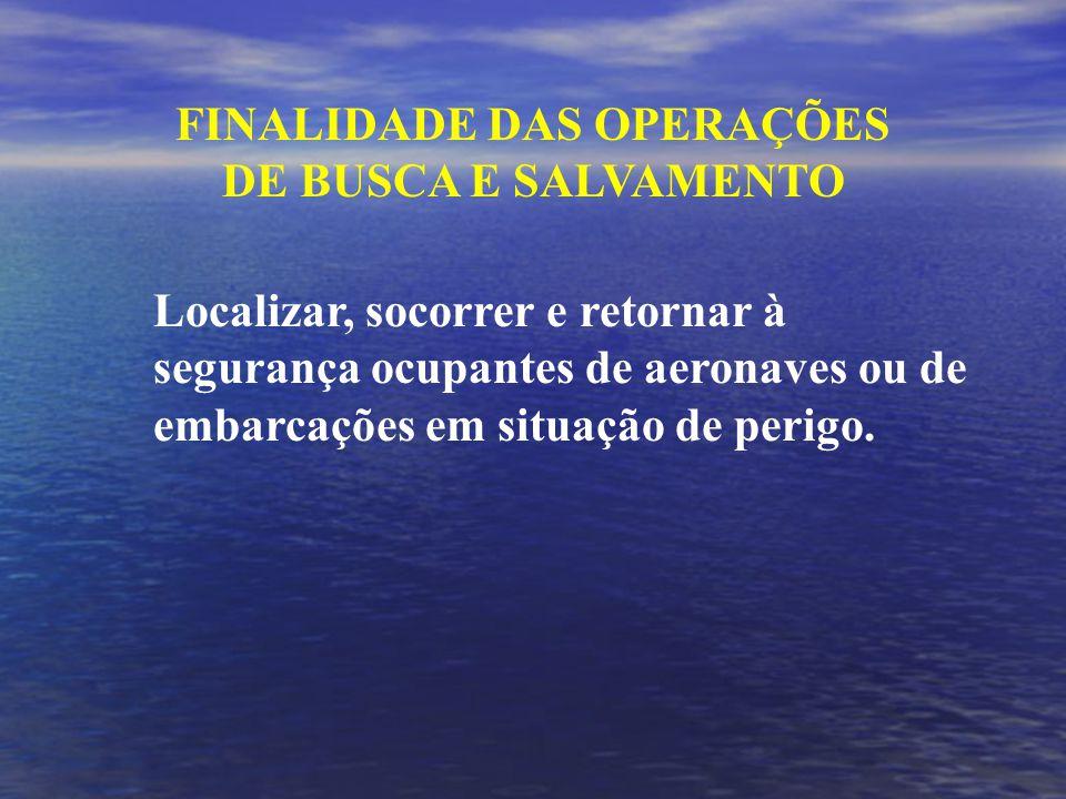 FINALIDADE DAS OPERAÇÕES DE BUSCA E SALVAMENTO Localizar, socorrer e retornar à segurança ocupantes de aeronaves ou de embarcações em situação de perigo.