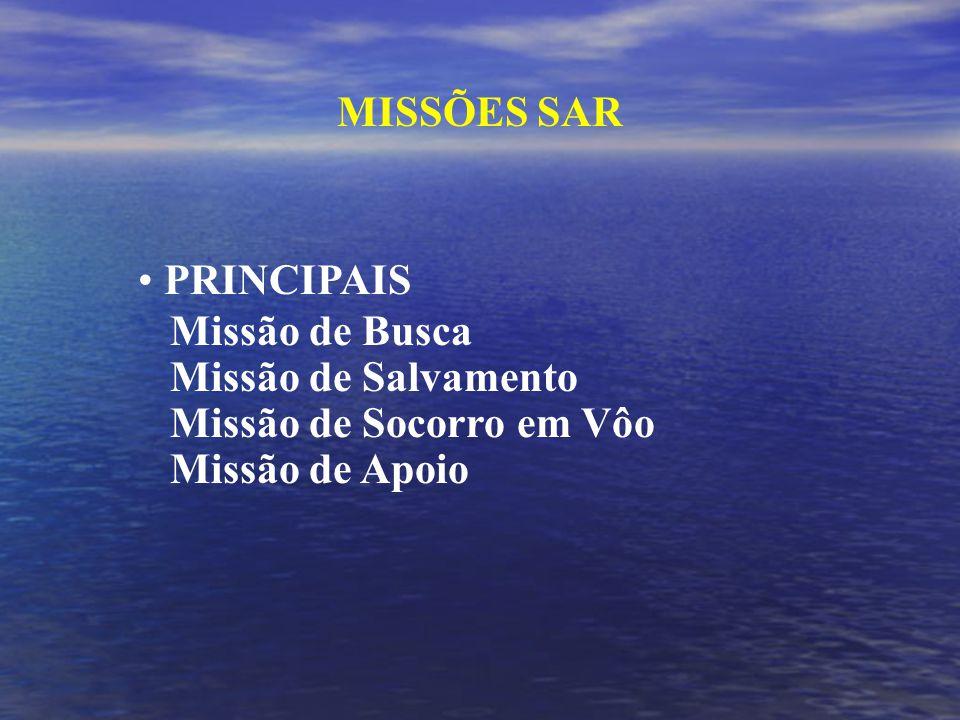 MISSÕES SAR PRINCIPAIS Missão de Busca Missão de Salvamento Missão de Socorro em Vôo Missão de Apoio