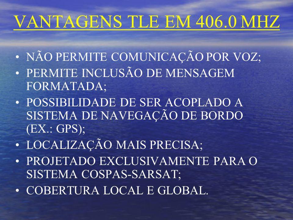 VANTAGENS TLE EM 406.0 MHZ NÃO PERMITE COMUNICAÇÃO POR VOZ; PERMITE INCLUSÃO DE MENSAGEM FORMATADA; POSSIBILIDADE DE SER ACOPLADO A SISTEMA DE NAVEGAÇÃO DE BORDO (EX.: GPS); LOCALIZAÇÃO MAIS PRECISA; PROJETADO EXCLUSIVAMENTE PARA O SISTEMA COSPAS-SARSAT; COBERTURA LOCAL E GLOBAL.