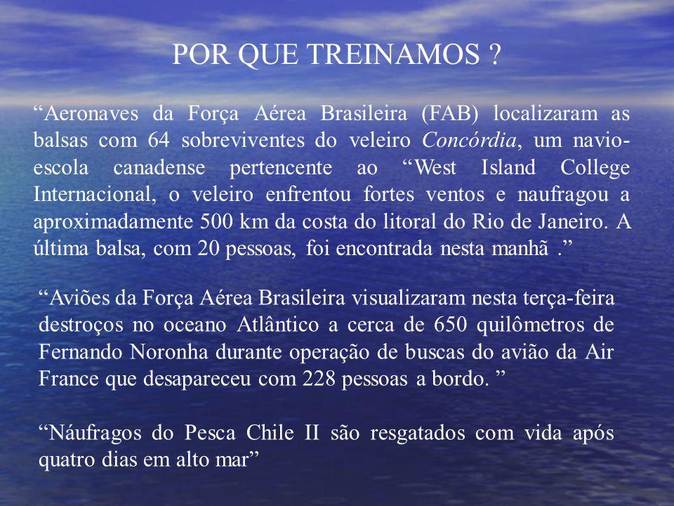 Aeronaves da Força Aérea Brasileira (FAB) localizaram as balsas com 64 sobreviventes do veleiro Concórdia, um navio- escola canadense pertencente ao West Island College Internacional, o veleiro enfrentou fortes ventos e naufragou a aproximadamente 500 km da costa do litoral do Rio de Janeiro.