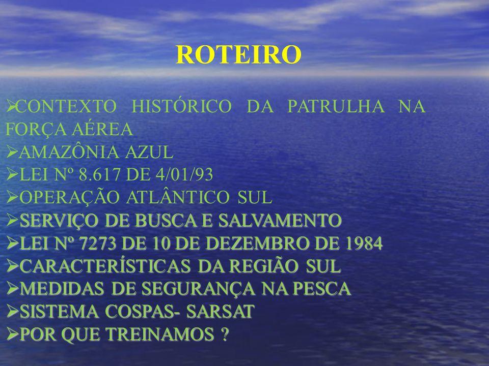 ROTEIRO CONTEXTO HISTÓRICO DA PATRULHA NA FORÇA AÉREA AMAZÔNIA AZUL LEI Nº 8.617 DE 4/01/93 OPERAÇÃO ATLÂNTICO SUL SERVIÇO DE BUSCA E SALVAMENTO LEI Nº 7273 DE 10 DE DEZEMBRO DE 1984 LEI Nº 7273 DE 10 DE DEZEMBRO DE 1984 CARACTERÍSTICAS DA REGIÃO SUL CARACTERÍSTICAS DA REGIÃO SUL MEDIDAS DE SEGURANÇA NA PESCA MEDIDAS DE SEGURANÇA NA PESCA SISTEMA COSPAS- SARSAT SISTEMA COSPAS- SARSAT POR QUE TREINAMOS .