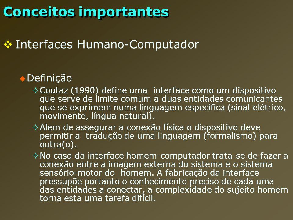 Interfaces Humano-Computador Definição Coutaz (1990) define uma interface como um dispositivo que serve de limite comum a duas entidades comunicantes