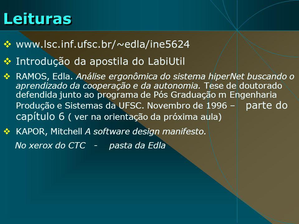 Leituras www.lsc.inf.ufsc.br/~edla/ine5624 Introdução da apostila do LabiUtil RAMOS, Edla. Análise ergonômica do sistema hiperNet buscando o aprendiza
