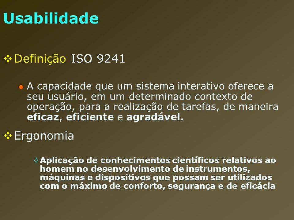 Usabilidade Definição ISO 9241 A capacidade que um sistema interativo oferece a seu usuário, em um determinado contexto de operação, para a realização